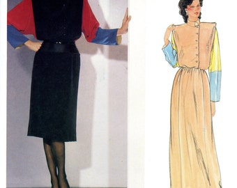 Vogue 1100 Paris Original Chloe Dress Color Blocked Pullover Size 14 Uncut Vintage Sewing Pattern 1980s