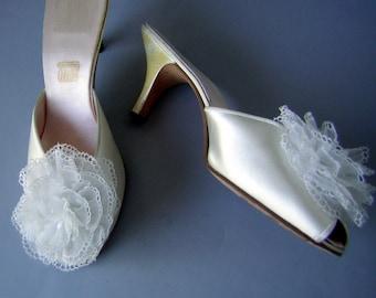 White Satin Heels Slippers Boudoir Bridal Daniel Green Vintage 50s US 9 1/2 - Euro 41