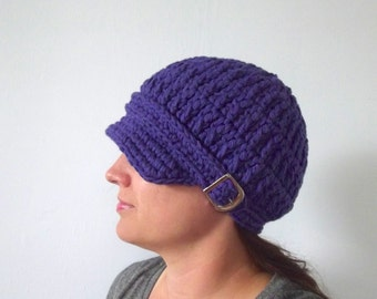 Purple Newsboy Cap Womens Newsboy Hat Womens Hat Purple Hat Crochet Newsboy Knit like Silver Buckle Newsboy Cotton Newsboy Newsie Hat