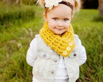 Yellow Citron Toddler Scarf 1T to 4T Toddler Girl Scarf Toddler Boy Scarf Yellow Toddler Scarf Toddler Scarflette Yellow Button Scarf Warm