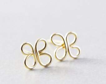 Clover Studs, Gold Post Earrings, St Patricks Day, Flower Posts