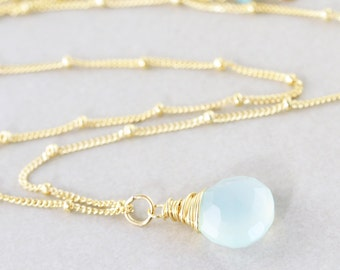 Aqua Drop Necklace, Aqua Chalcedony Necklace, Mint Drop Stone Necklace