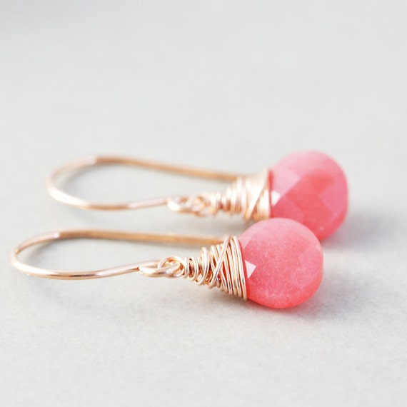 Cherry Jade Dangle Earrings, Raspberry Drop Earrings, Rose Gold Earrings, Bridesmaid Gift