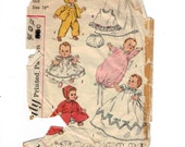 "1960s Vintage Doll Clothes Sewing Pattern Simplicity 1844 16"" or 20"" Baby Doll Wardrobe Coat Hat Gown Saque Pajamas Petticoat Slip 60s"
