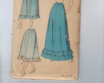 1940s Vintage Sewing Pattern Advance 4805 Misses Ruffled Ruffle Trimmed Petticoat Long Underskirt Evening Street Length Waist 28 Hip 37