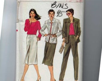 1980s Vintage Sewing Pattern Vogue 7563 Misses Jacket T-shirt Skirt and Pants Size 10 Bust 32 1/2 1980s 80s UNCUT