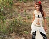 CROCHET VEST - Boho Hippie Faery Fairy Pixie Shabby chic Bohemian - OoAK Hand made Upcycle Burning man - Off white Cream Ivory