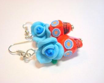 Orange and Blue Day of the Dead Roses and Sugar Skull Earrings