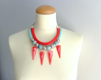Red Mint green statement necklace, triangle necklace