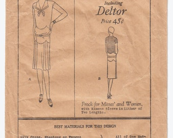 Vintage Sewing Pattern 1920's Ladies Flapper Dress Vintage Butterick 2677 - Free Pattern Grading E-book Included