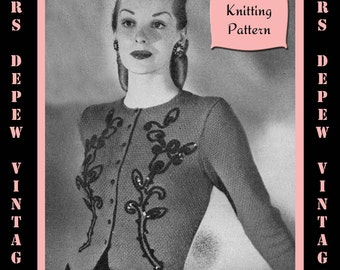 Vintage 1940's Ladies' Jacket Cardigan Knitting Pattern Reproduction #4451 - INSTANT DOWNLOAD