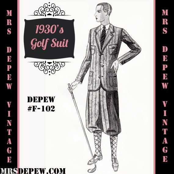 Men's Vintage Reproduction Sewing Patterns  1930s Mens Golf Suit Coat and Trousers in Any Size Depew F-102 - Plus Size Included -INSTANT DOWNLOAD- $9.50 AT vintagedancer.com