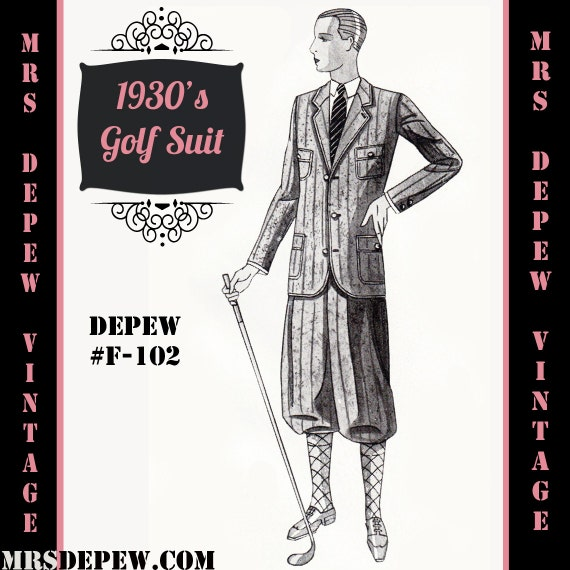 Men's Vintage Reproduction Sewing Patterns Menswear Vintage Sewing Pattern 1930s Mens Golf Suit Coat and Trousers in Any Size Depew F-102 - Plus Size Included -INSTANT DOWNLOAD-  AT vintagedancer.com