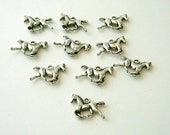 Running Horse Charms Set of 10 Silver Color 15x20mm