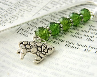 Leopard Bookmark with Green Glass Beads