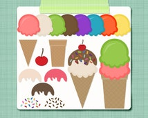 Ice Cream Clip Art Ice Cream Cones Clipart Make Your Own Ice Cream - Digital Scrapbooking Elements - Personal and Commercial Use