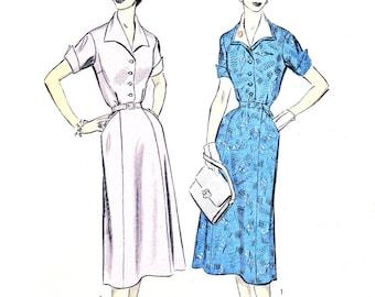 1950s Dress Pattern Advance 6682 Gored Skirt Shirtdress Detachable Collar Womens Vintage Sewing Pattern Bust 32