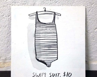 Swim suit, painting on board