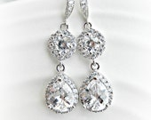 Rhinestone Bridal Earrings - Medium Length - Wedding earrings - cubic zirconia - circle - round setting - sterling silver ear wire