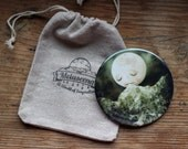 The Peckish Moon pocket mirror | goodnight moon, art pocket mirror, little girl accessory, bridesmaid gift for girl | Lisa Falzon