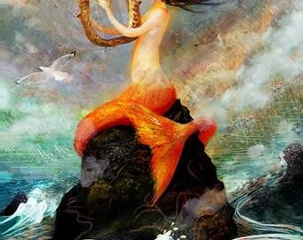 The Wrecker print | 8X10 | mermaid art siren painting sea lover, mermaid painting, wall art | by Meluseena