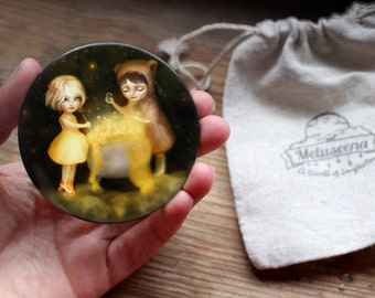 Brewing Stars with Little Bear Pocket Mirror | bear mirror, children's pocket mirror, girl gift  | by  Meluseena