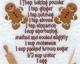 Embroidered Recipe Christmas Towel Gingerbread Cookie Recipe