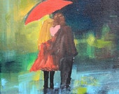 Sweethearts Couple with Red Umbrella in Rain Print