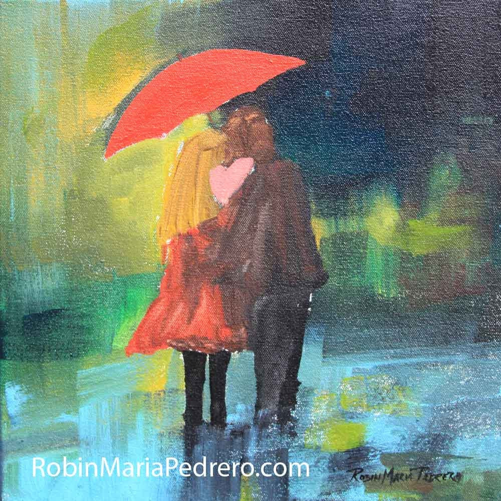 Sweethearts Couple With Red Umbrella In Rain By