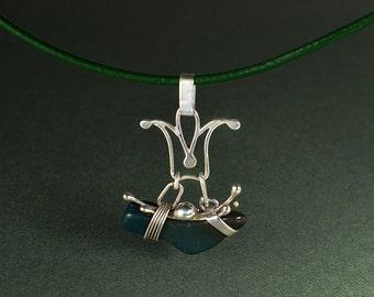 MYSTIC BIRD Argentium pendant handmade by Rasa L.  RasaOM.Etsy.com