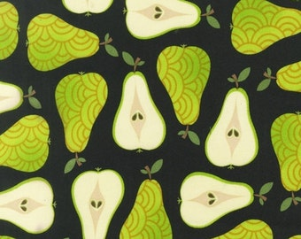Pears Black Fruit Metro Market Kaufman Fabric 1 yard