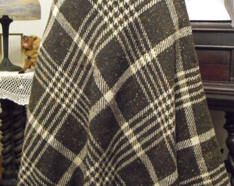 Quick Sale  Reduced..Vintage Designer Bradley late 50's early 60's Soft  Brown Plaid Wool Circle Skirt With Matching Belt No issues