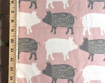 Pink Pigs Cotton Fabric // 1canoe2