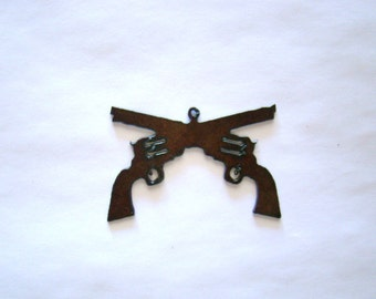 "Crossed Guns 2.5"" Recycled Metal Pendant Cutout"
