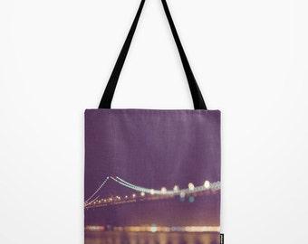 market tote bag, San Francisco tote bag, purple plum winter accessory, gold, Bay Bridge California photography, bokeh, grocery bag book tote
