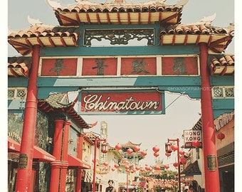 Chinatown Los Angeles photograph, asian decor,  travel photography, photo, red chinese lanterns, sign, pagoda, temple, California art print