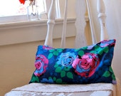 Buckwheat Hull Pillow: Bold Roses in Blue and Magenta
