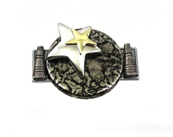 1960s Space Age Brooch Atomic Star Rockets & the Moon