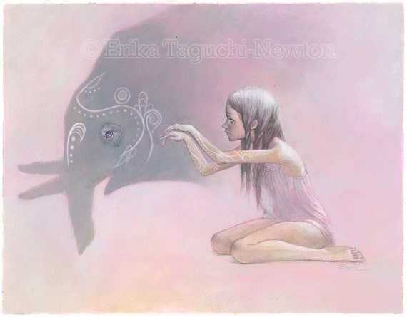 "Elephant Art, Shadow Puppet Painting, Elephant Fine Art Print - ""Shadowplay"""