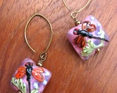DRAGONFLY Lampwork Earrings, Coral Winged Dragonfly, Murano Glass Dragonfly Earring
