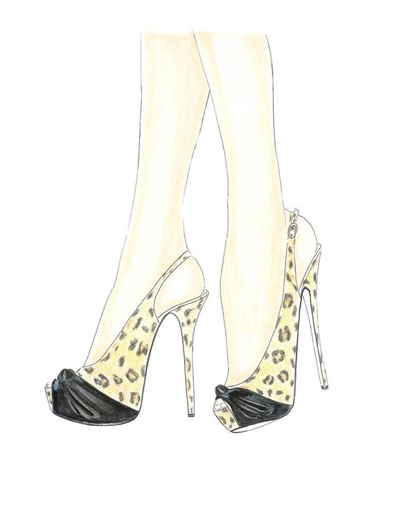 Animal print high heels fashion illustration, girls room décor, fashion wall art, animal print fashion sketch