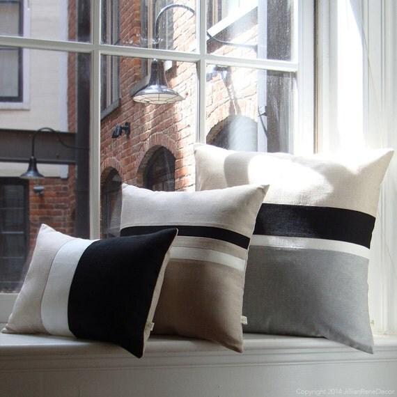 Modern Family Pillow Stripe : Black & White Chambray Striped Colorblock Pillow Cover Set of