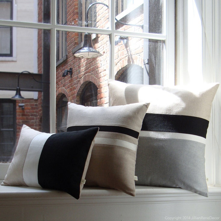 Modern Striped Pillows : Black & White Chambray Striped Colorblock Pillow Cover Set of
