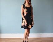 floral tank dress / black 90s dress / medium - large