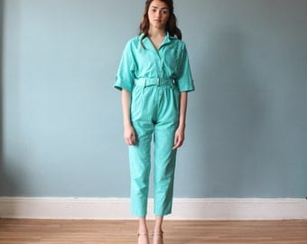 1980s jumpsuit / 80s mint one jumpsuit / green onesie / small - medium