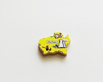 DURHAM England Brooch - Lapel Pin - Pendant / Yellow Wood Brooch / Upcycled 1960s Wood Puzzle Piece / Wearable History Pin / Gift Under 20