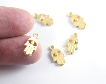 5 pcs - Matte Gold plated Hand of Hamsa  Spacer, Charms - 16x9 mm-(021-027GP)