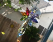 "6 1/2"" to 12"" Rainbow Guardian Angel Baby Swarovski Crystal Suncatcher, Rainbow Wings for Home or Car, Rearview Mirror Window Car Crystal"