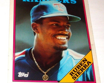 Vintage Collectible Baseball Folder, Ruben Sierra, Rangers, Back to School Folder, Major League Baseball Player, Topps, 1988  (229-14)