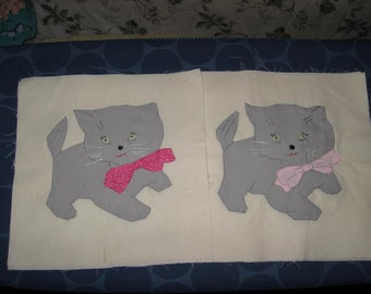 Kitten Wearing Bow,  10 x 10 inch hand appliqued quilt block